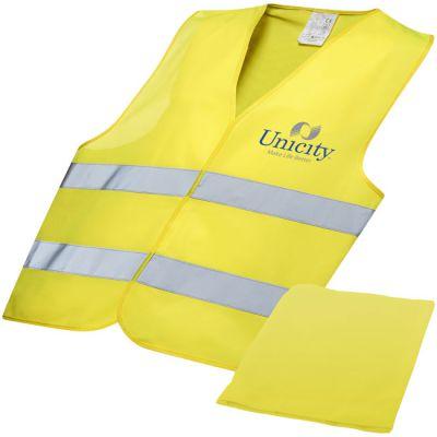 Gilet di sicurezza professionale con custodia, giallo