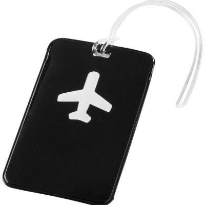 Targhetta per bagaglio Voyage. Targhetta identificativa per bagaglio con finestra in PVC trasparente sul retro per inserire nome, indirizzo e numero d