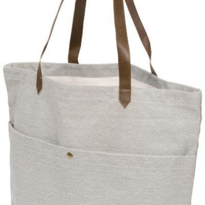 Shopper in canvas di cotone Harper. Questa shopper in canvas alla moda è dotata di scompartimento principale aperto e una pratica tasca frontale con c