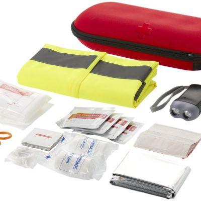 Kit primo soccorso 46 pezzi e gilet di sicurezza professionale, rosso