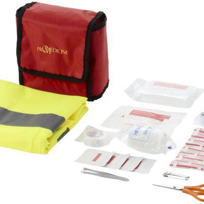 Kit primo soccorso 18 pezzi e gilet di sicurezza professionale, rosso