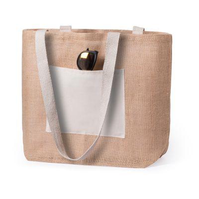 Borsa shopper brogrund in Juta con manici e tasca a contrasto