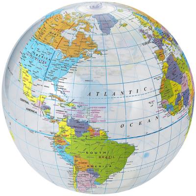 Pallone da spiaggia trasparente Globe. Pallone da spiaggia gonfiabile con stampa a mappamondo