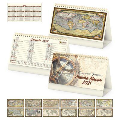 Calendario Antiche mappe  spiralato da tavolo mensile 13 fogli carta avorio