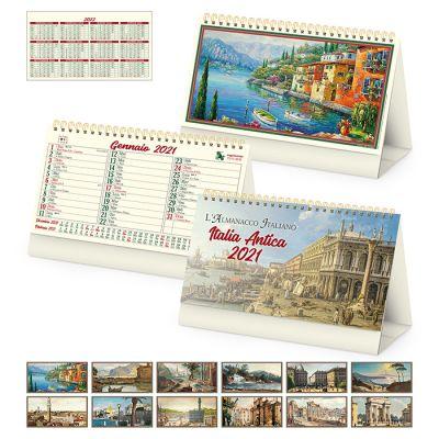 Calendario da tavolo spiralato Italia antica 13 fogli carta avorio