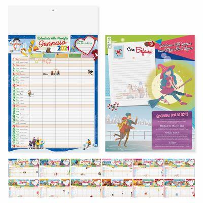 Calendario illustrato della Famiglia mensile 12 fogli carta patinata