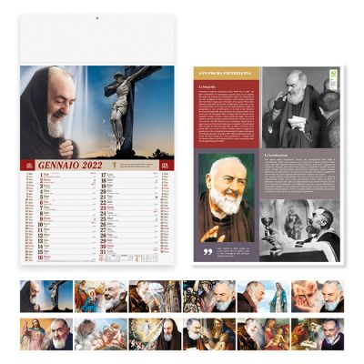 Calendario illustrato San PIO mensile 12 fogli carta patinata