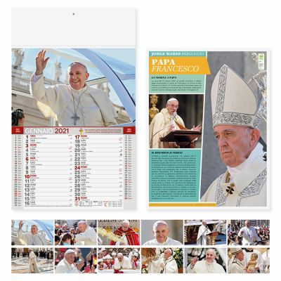 Calendario Papa Francesco illustrato 12 fogli carta patinata