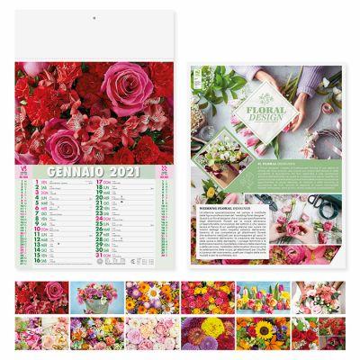Calendario illustrato fiori 12 fogli mensile carta patinata