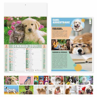Calendario illustrato cani e gatti 12 fogli mensile carta patinata