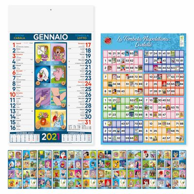 Calendario illustrato Cabala mensile 12 fogli carta patinata