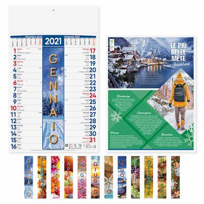 Calendario 4 Stagioni illustrato 12 fogli mensile carta patinata