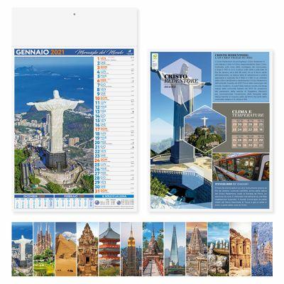 Calendario illustrato Citta e  meraviglie del mondo 12 fogli mensile carta patinata