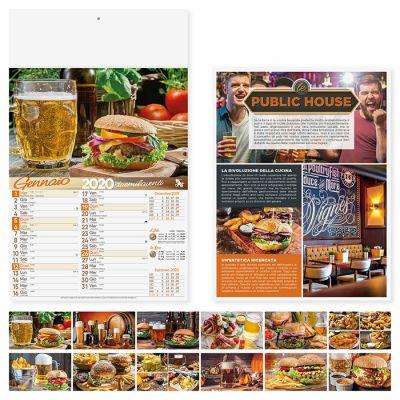 Calendario illustrato pub e  birra 12 fogli mensile carta patinata