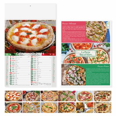 Calendario illustrato pizza 12 fogli mensile carta patinata