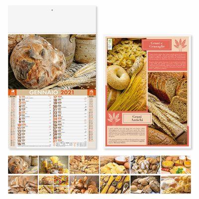 Calendario illustrato pane e pasta 12 fogli mensile carta patinata