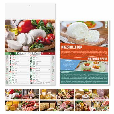 Calendario illuatrato prodotti tipici 12 fogli mensile carta patinata