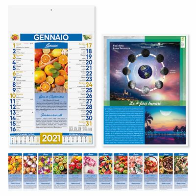 Calendario illustrato lunario 12 fogli mensile carta patinata