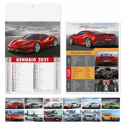 Calendario illustrato Auto sportive 12 fogli mensile carta patinata