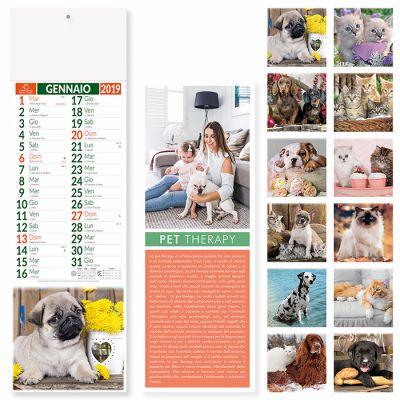 Calendario silhouette cani e gatti mensile 12 fogli carta patinata