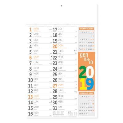 Calendario olandese fluo mensile 12 fogli carta patinata