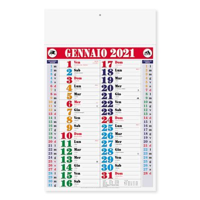 Calendario olandese color mensile 12 fogli carta patinata